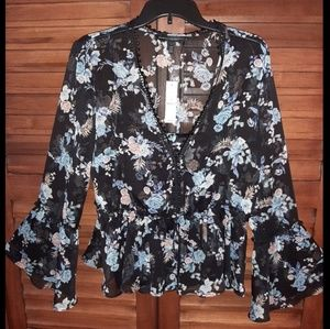 Floral blouse with camisole underpinning